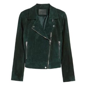 Blank NYC Suede Motorcycle Jacket Evergreen NEW